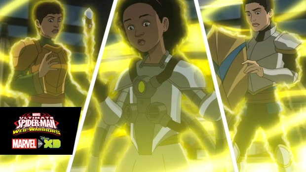 "The cast of Disney's ""Jessie"" swings by ""Marvel's Ultimate Spider-Man: Web-Warriors"""