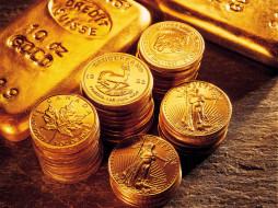 Золото, купюры, монеты обои для рабочего стола, картинки ...