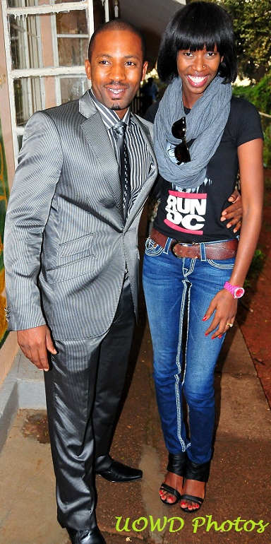 Meddie and Judith pose for a pic after donating to Sanyu Babies Home - Photo by Nicholas Oneal