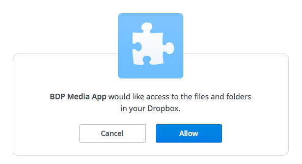 Grant BDP permission to access your Dropbox files