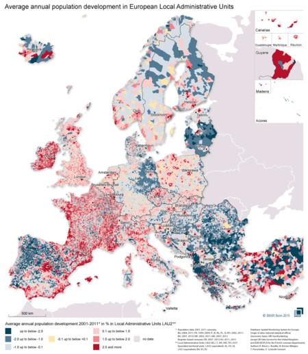 Mapa De Cambios Poblacionales