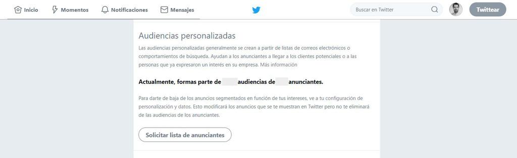 Twitter Anunciantes Publicidad Datos Privacidad