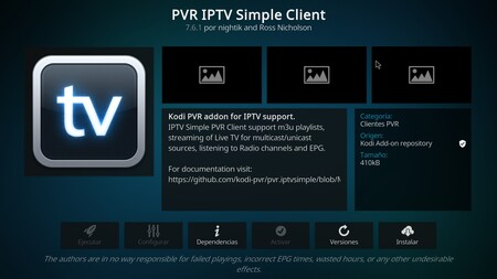 PVR IPTV Simple Client, el 'add-on' que nos permitirá ver IPTV.