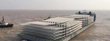 Un buque más grande que un campo de fútbol y semanas de trabajo: así llegan a España 156 palas de aerogenerador desde China