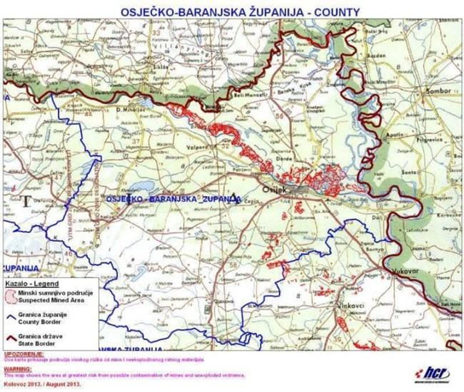 Mapa Minas Croacia