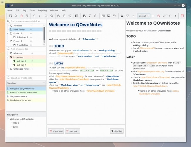 Qownnotes Main Screen Linux