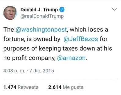 Trump Contra Amazon Solo Puede Quedar Uno En El Ring Tuit1