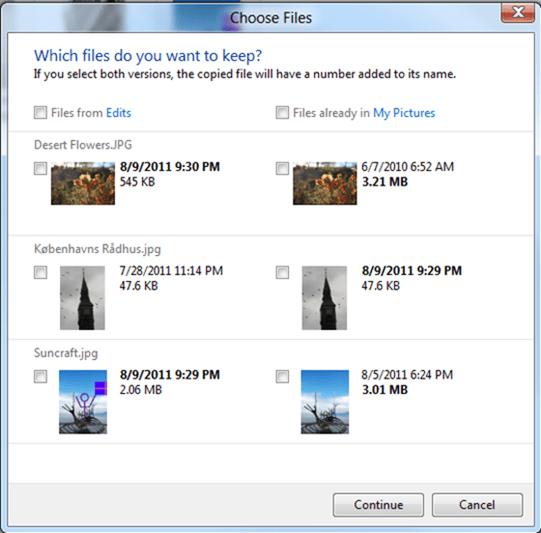 Sistema para copiar archivos con el mismo nombre en Windows 8.1