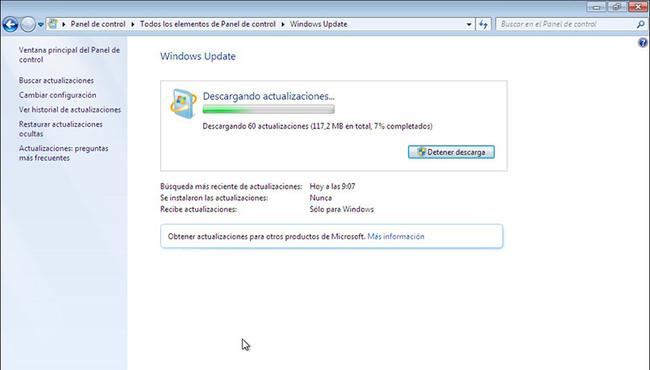 Instalar Actualizaciones Windows 7