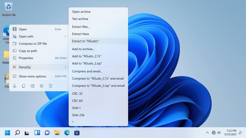 NanaZip es un fork moderno de 7-Zip que sí se integra en el nuevo menú de click derecho en Windows 11
