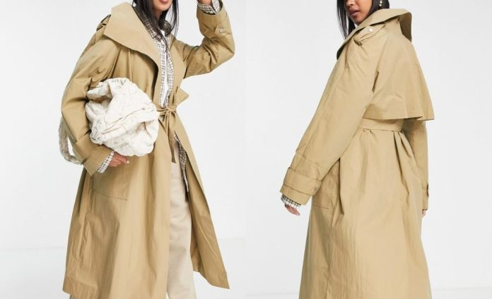 ASOS DESIGN Luxe trench coat in stone with lapels