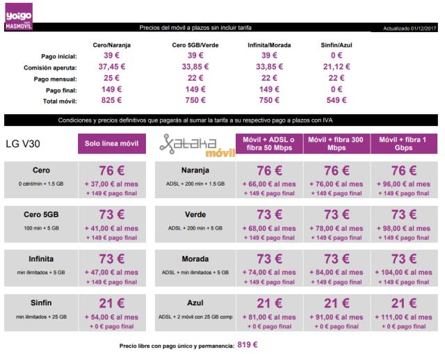 Precios Lg V30 Con Tarifas Yoigo℗ Y Pago A Plazos