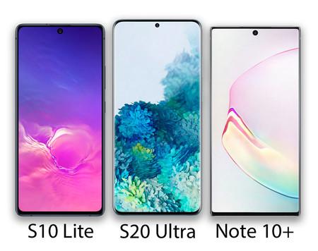 Comparación de los frontales del Samsung Galaxy S10 Lite, S20 Ultra y Note 10+ (la imagen no está a escala).