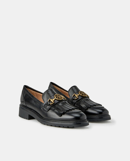Unisa Women's Black Engraved Leather Loafers