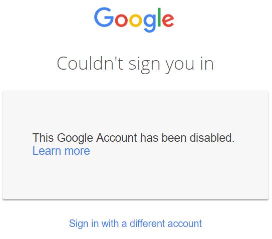 Google suma suspendida