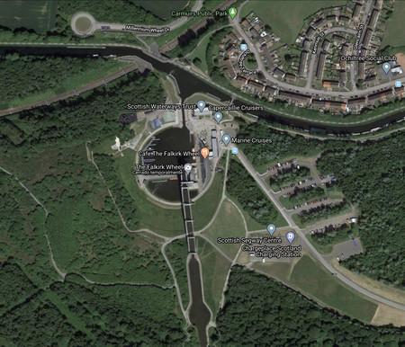 Rueda de Falkirk en Google Maps