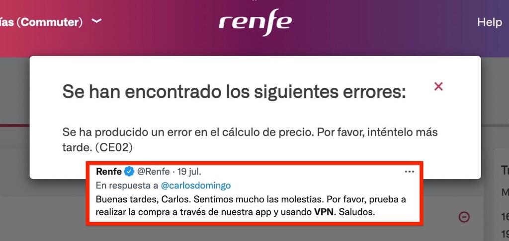 Usar VPN y cambiar la hora: la esperpéntica solución que da Renfe si la web no te deja comprar billetes desde fuera de España