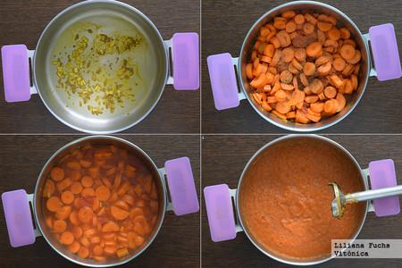 Crema de zanahorias y tomate. Pasos