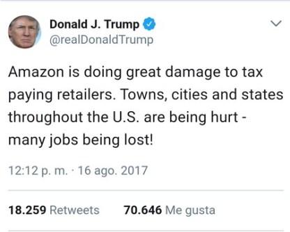 Trump Contra Amazon Solo Puede Quedar Uno En El Ring Tuit5