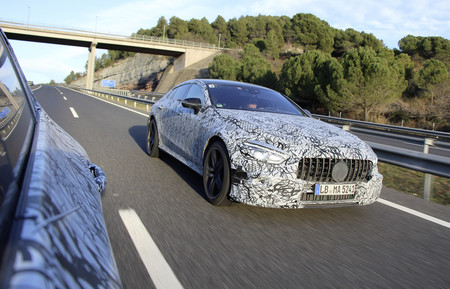 This is the Mercedes-AMG GT four-door: first official images, still camouflaged