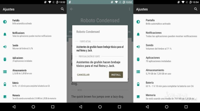 Cambiar Letra Android