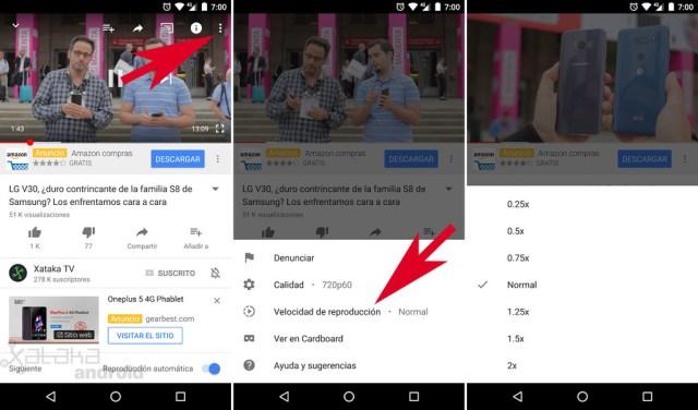 Cambiar rapidez de reproducción YouTube