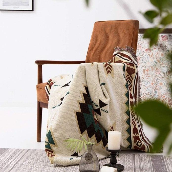 (90 * 90cm) Geometric Navajo Print Aztec Ethnic Tribal Throw Blanket for Sofa, Bohemian Decor