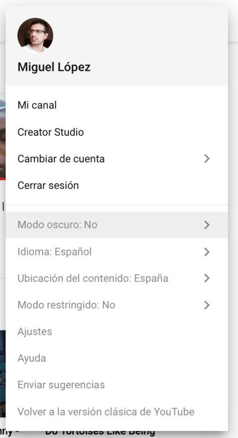 Youtube Safari Menu
