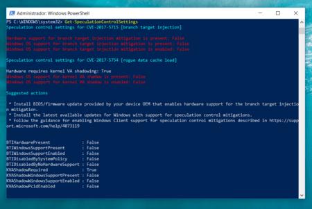 Windows Powershell Comprobar Meltdown Spectre Windows 10
