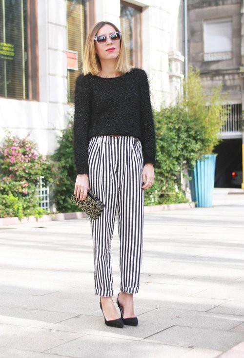 Resultado de imagen de Pantalones a rayas invierno 2016