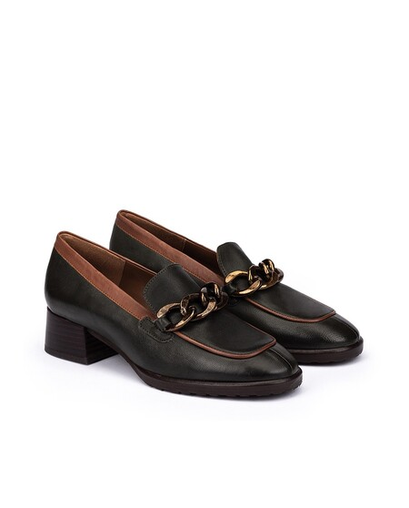 Women's Leather Loafers In Green
