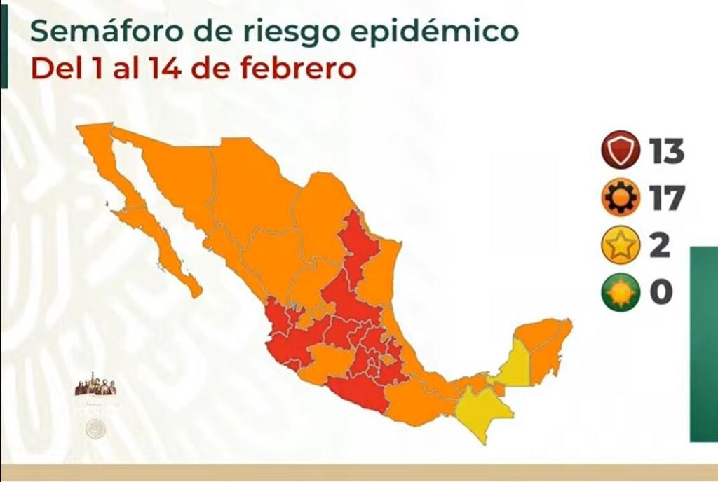 México se queda sin estados en semáforo verde por COVID y con 13 entidades en semáforo rojo para iniciar febrero