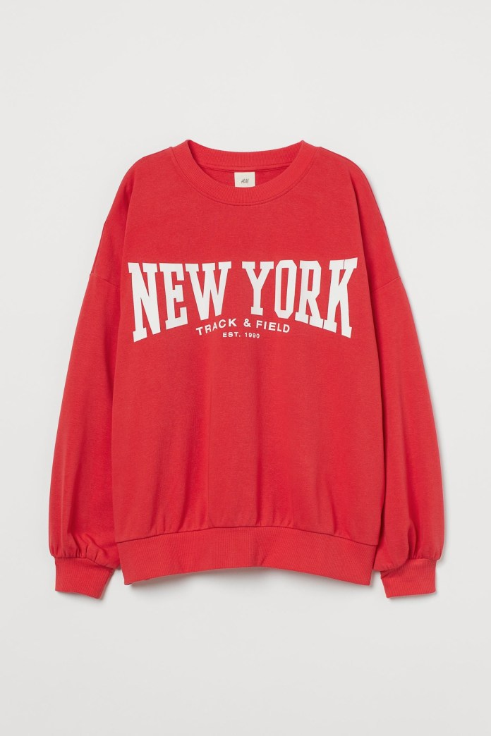 H&M sweatshirt in hot red with New York logo