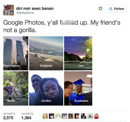 Tuit en el que un usuario se quejaba de que sus amigos aparecían etiquetados como Gorilas en Google.