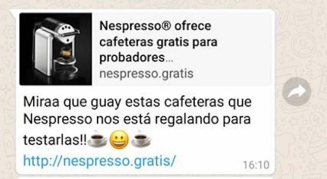 No, Nespresso no está regalando cafeteras, es otra estafa más que circula por WhatsApp