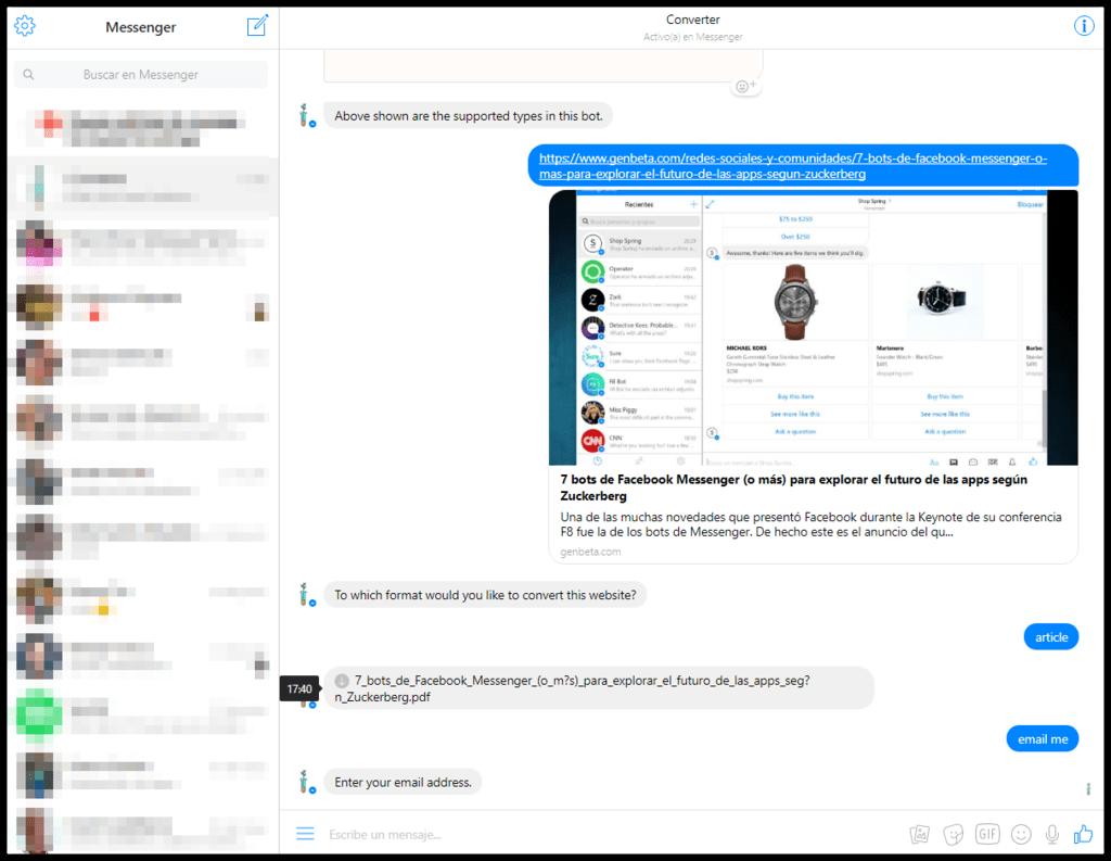 Messenger Converter Bot