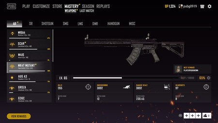Pubg New Weapon Mastery Menu 1