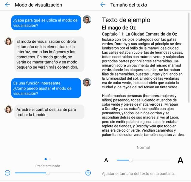 Cómo intercambiar el tamaño del texto y los componentes en pantalla