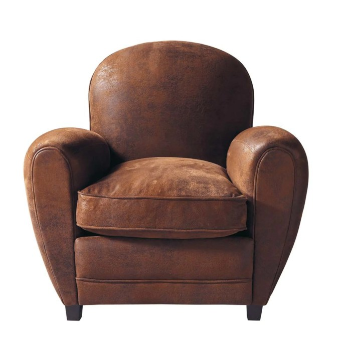 Arizona Brown Suede Leather Armchair from Maisons du Monde