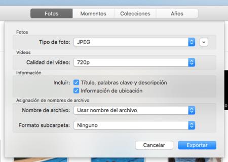 Fotos Mac Exportar Opciones