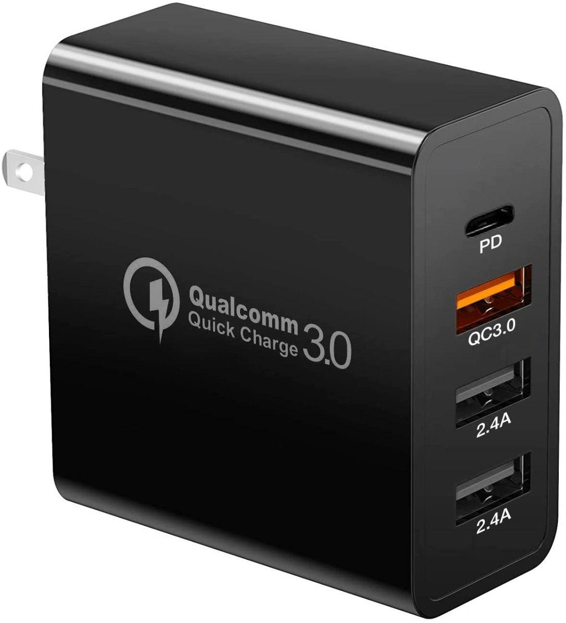 Cargador Nierbo con USB tipo C, cuatro puertos de carga rápida PD y QC 3.0