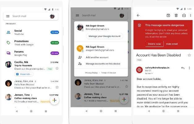 La aplicación de Gmail(email) estrena diseño(layout) y se vuelve más blanca que nunca