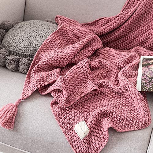AUSTINCIAGA Knitted Sofa Blanket Table Bedspread Warm and Soft Nordic Blanket with Fringes Handmade for Beach Picnic All Seasons