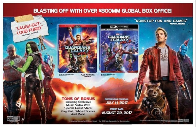 Lanzamiento Blu-ray UHD Guardianes Galaxia 2