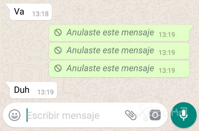WhatsApp borrado