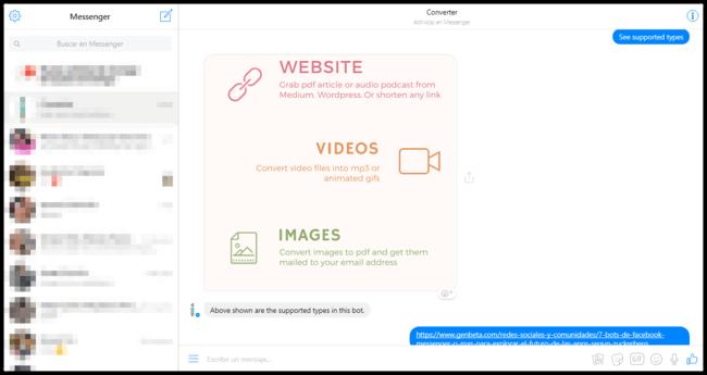 Facebook Messenger Bot Convertidor