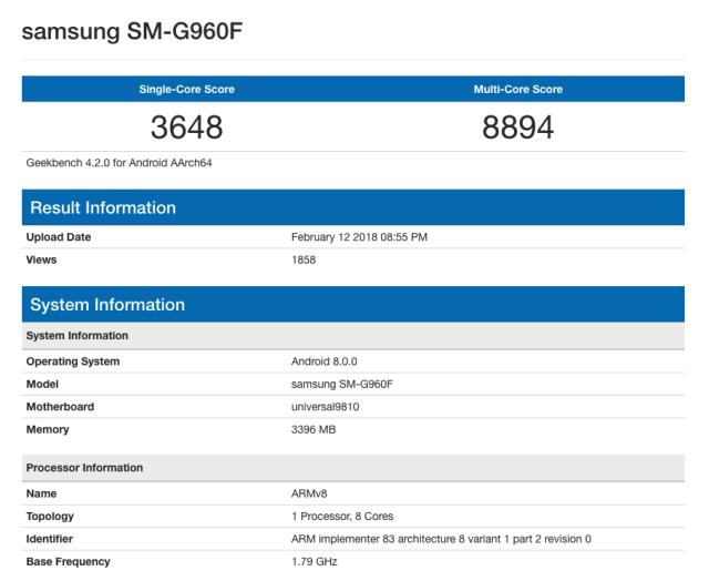 El Samsung℗ Galaxy℗ S9 pasando las pruebas con el Exynos 9810