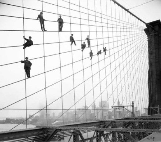 Brooklyn Bridge Under Construction 1883 Photo U2