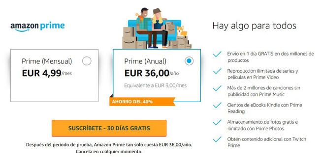 Amazon Prime Espana 36 Euros