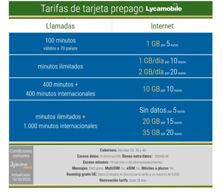 Nuevas Tarifas De Tarjeta Prepago Lycamobile En Octubre(mes) De 2021